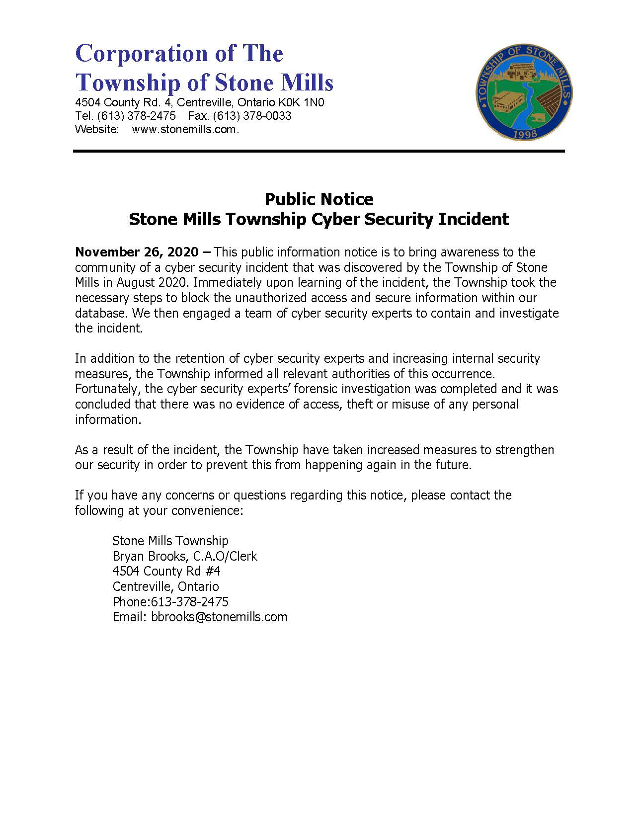 public notice of cyber security incident